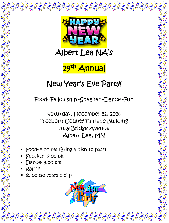 Albert Lea New Year's Eve Party Flyer
